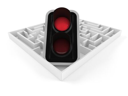 Red traffic light inside maze isolated on white background. 3d illustration