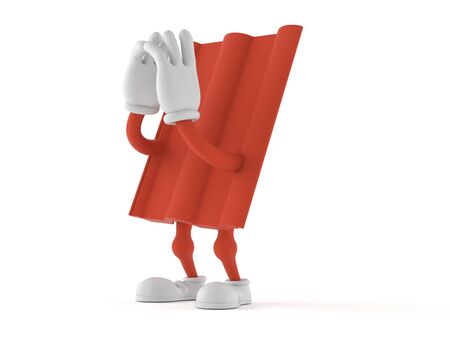 Roof tile character shouting isolated on white background. 3d illustration