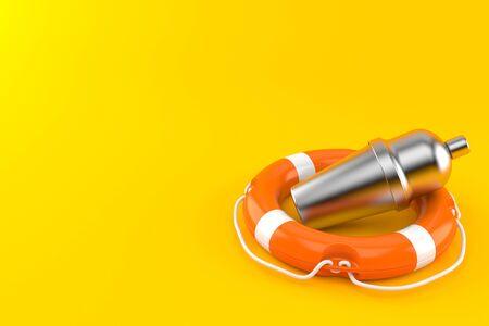 Cocktail shaker inside life buoy isolated on orange background. 3d illustration