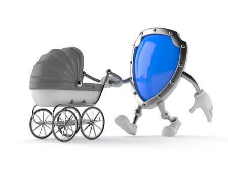 Protective shield character with baby stroller isolated on white background. 3d illustration