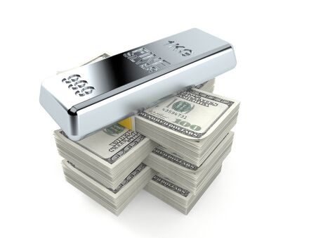 Silver ingot on stack of money isolated on white background. 3d illustration Stock Photo