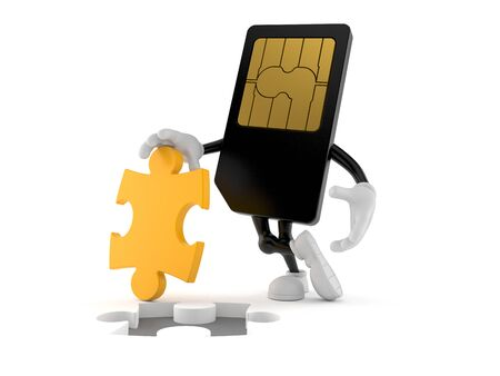 SIM card character with jigsaw puzzle isolated on white background. 3d illustration Imagens