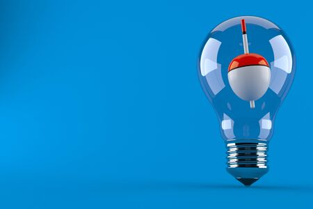 Fishing float inside light bulb isolated on blue background. 3d illustration