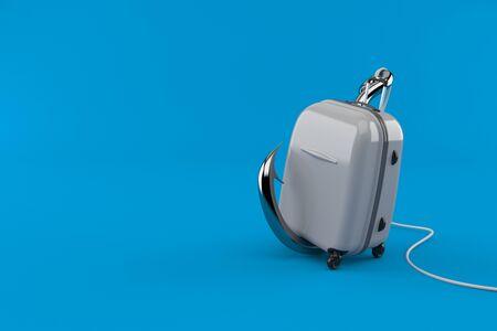 Suitcase with fishing hook isolated on blue background. 3d illustration Reklamní fotografie