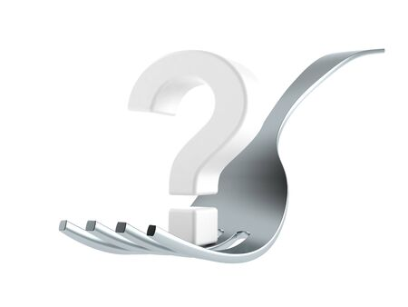 Fork with question mark isolated on white background. 3d illustration