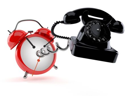 Telephone with alarm clock isolated on white background. 3d illustration