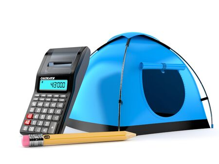 Tent with calculator and pencil isolated on white background. 3d illustration