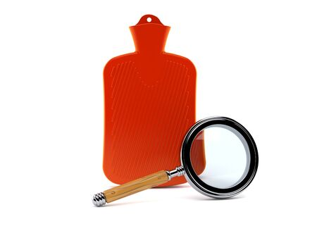 Hot water bottle with magnifying glass isolated on white background. 3d illustration