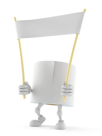 Toilet paper character holding blank banner isolated on white background. 3d illustration Stock Photo