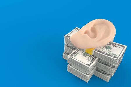 Ear on stack of money isolated on blue background. 3d illustration Reklamní fotografie