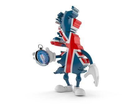 UK character holding compass isolated on white background. 3d illustration Reklamní fotografie