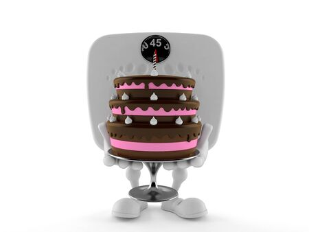 Weight scale character holding cake isolated on white background. 3d illustration