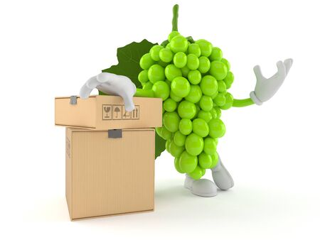 Grapes character with stack of boxes isolated on white background. 3d illustration