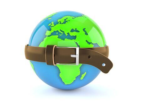 World globe squeezed by belt isolated on white background. 3d illustration Reklamní fotografie