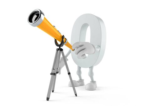 Zero character looking through a telescope. 3d illustration