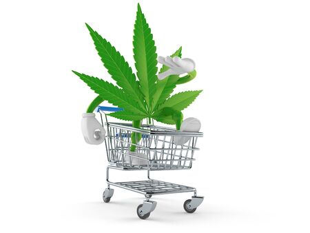 Cannabis character inside shopping cart isolated on white background. 3d illustration 스톡 콘텐츠