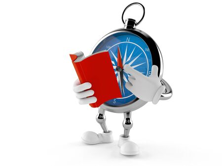 Compass character reading a book isolated on white background. 3d illustration