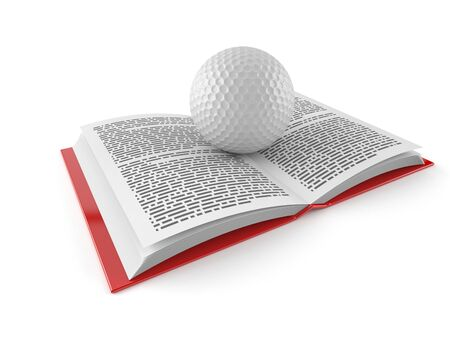 Golf ball on open book isolated on white background. 3d illustration