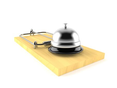 Hotel bell with mousetrap isolated on white background. 3d illustration