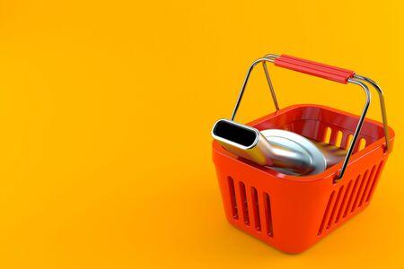 Muffler inside shopping basket isolated on orange background. 3d illustration