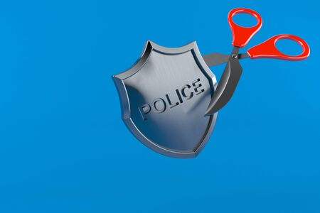 Police badge with scissors isolated on blue background. 3d illustration Stock fotó
