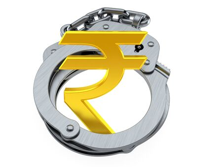 Rupee currency symbol inside handcuffs isolated on white background. 3d illustration