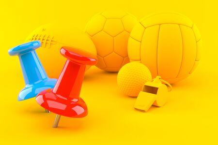 Sport background with thumbtacks in orange color. 3d illustration