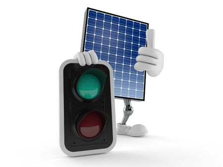 Photovoltaic panel character with green light isolated on white background. 3d illustration Archivio Fotografico - 125427395