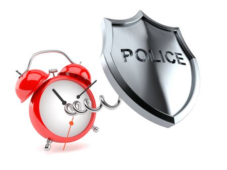 Police badge with alarm clock isolated on white background. 3d illustration Stock Photo