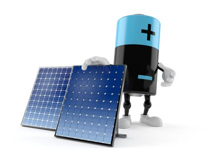 Battery character with photovoltaic panel isolated on white background. 3d illustration