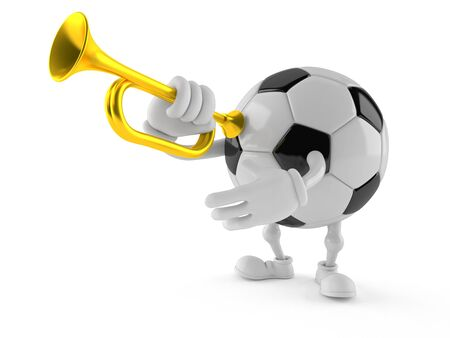 Soccer ball character playing the trumpet isolated on white background. 3d illustration Banque d'images - 125492685