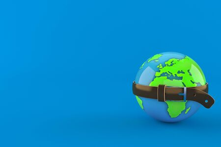 World globe squeezed by belt isolated on blue background. 3d illustration Imagens