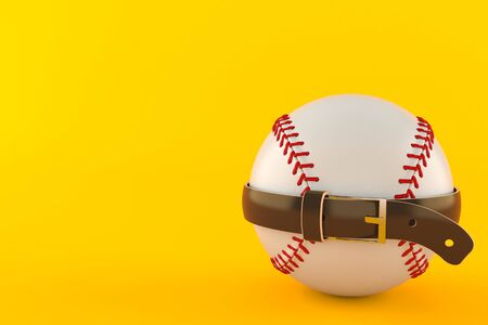 Baseball ball with tight belt isolated on orange background. 3d illustration