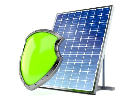Photovoltaic panel with protective shield isolated on white background. 3d illustration Archivio Fotografico - 125681480