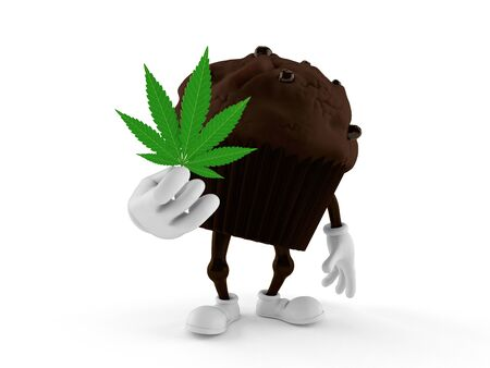 Muffin character holding cannabis leaf isolated on white background. 3d illustration Stock Photo