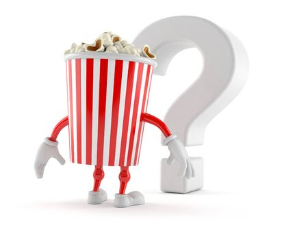 Popcorn character looking at question mark symbol isolated on white background. 3d illustration
