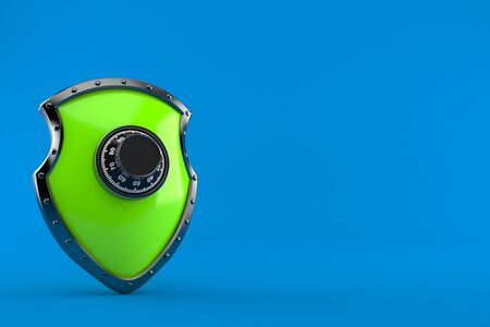 Protective shield with combination lock isolated on blue background. 3d illustration Stock fotó