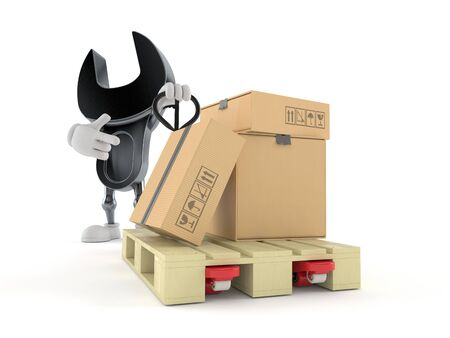 Wrench character with hand pallet truck with cardboard boxes isolated on white background. 3d illustration