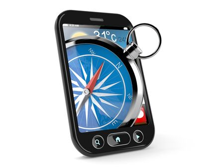 Compass inside smart phone isolated on white background. 3d illustration