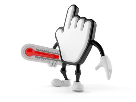 Cursor character holding thermometer isolated on white background. 3d illustration