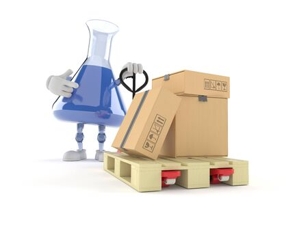 Chemistry flask character with hand pallet truck with cardboard boxes isolated on white background. 3d illustration