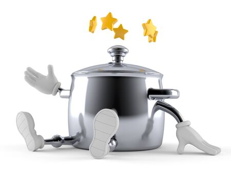 Kitchen pot character with stars around head isolated on white background. 3d illustration