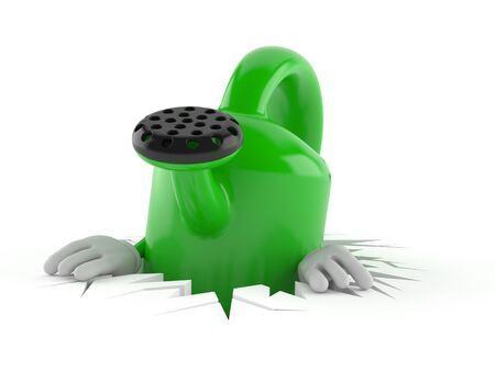 Watering can character inside hole isolated on white background. 3d illustration