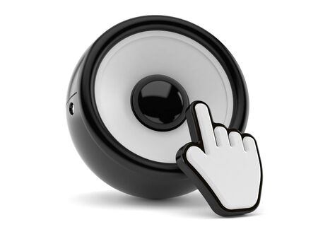 Audio speaker with web cursor isolated on white background. 3d illustration