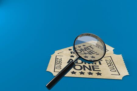 Tickets with magnifying glass isolated on blue background. 3d illustration