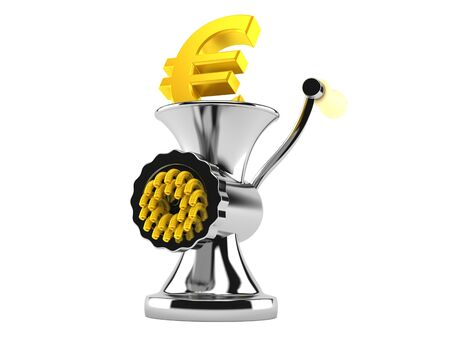 Euro currency inside mincer isolated on white background. 3d illustration