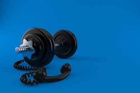 Dumbbell with telephone handset isolated on blue background. 3d illustration