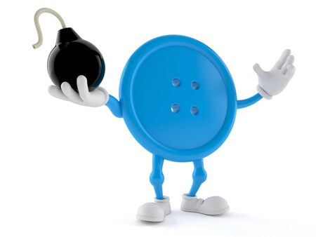 Button character holding bomb isolated on white background. 3d illustration