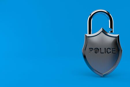 Police badge with padlock isolated on blue background. 3d illustration