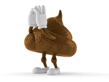 Poop character shouting isolated on white background. 3d illustration